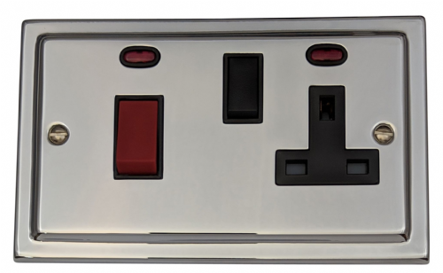 G&H TC29B Trimline Plate Polished Chrome 45 Amp DP Cooker Switch & 13A Switched Socket